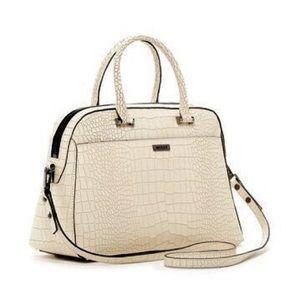 Milly ginza croc embossed satchel handbag bone